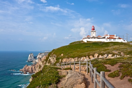 lighthouse and Atlantic ocean at cabo da Roca, Portugal photo