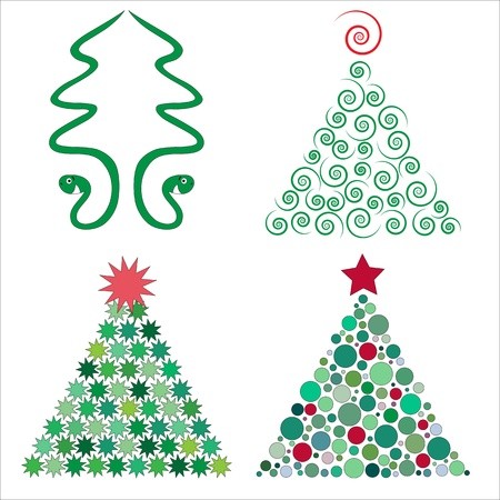 Set of four christmas trees Vector