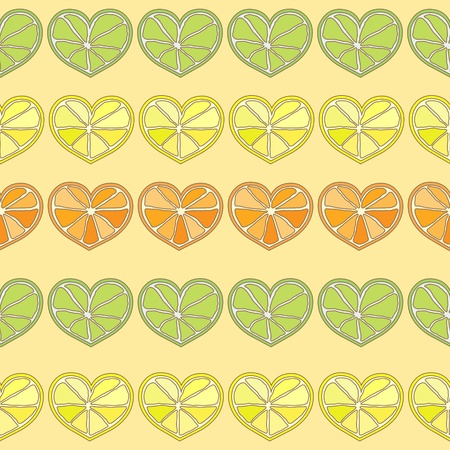 citrus hearts seamless pattern  Vector
