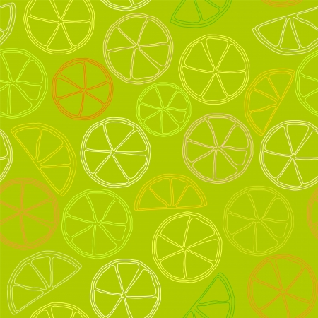citrus outline seamless pattern Vector