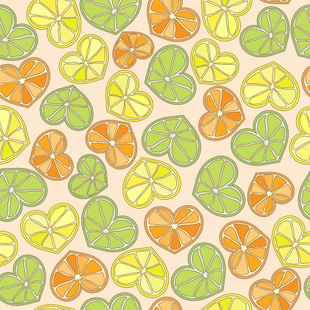 citrus hearts seamless pattern vector eps8