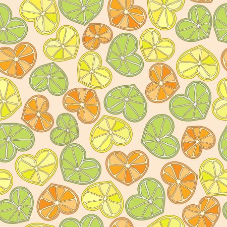 citrus hearts seamless pattern vector eps8 Imagens - 16123022