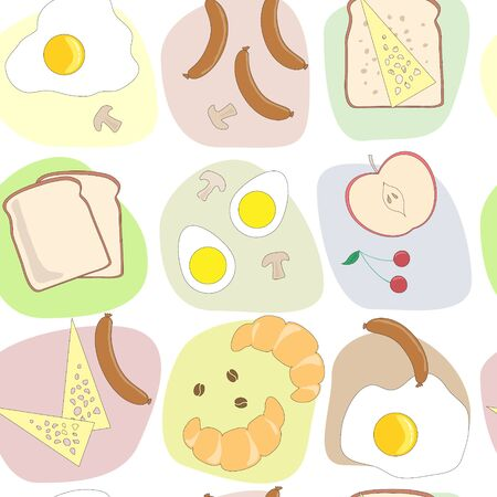 egg roll: breakfast table seamless pattern