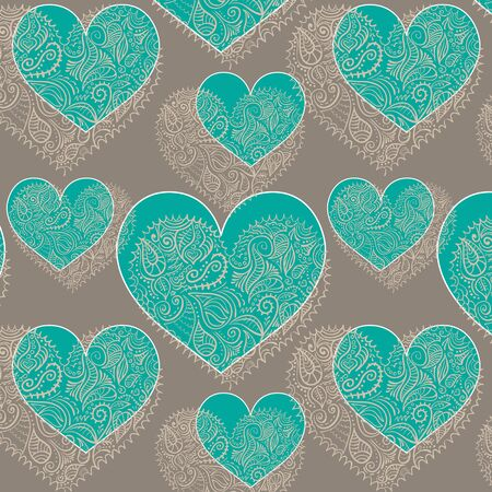 motton blue: ornamental lace hearts seamless pattern added to swatches