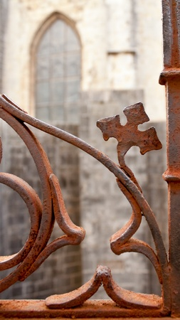 fragment of decoration of an old rusty fence photo