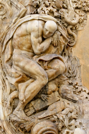 ceramica: detail of a portal of Palacio de Marques de Dos Aguas in Valencia, Spain