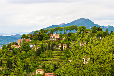 Beautiful view of  countryside near Bergamo in Lombardy, Italy