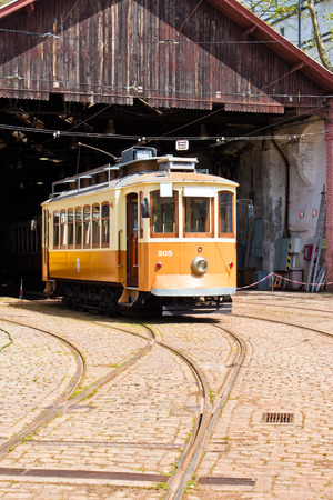 Vintage tram in depot, Porto, Portugal