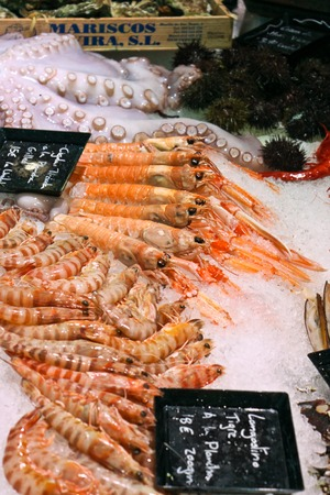 Octopus and tiger shrimps on a San Miguel market in Madrid, Spain Imagens