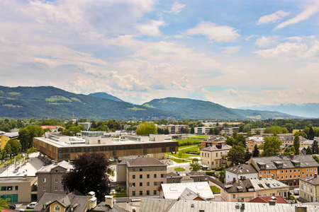 View of Nonntal district and Unipark Nonntal campus of Salzburg University