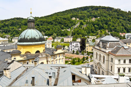 View of The Cajetan Church and The Court of Justice with Kapuzinerberg in the background, Salzburg, Austria