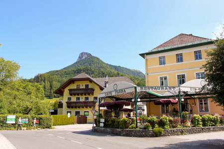 FUSCHL AM SEE - JULY 2  A street and an outdoor restaurant in a small alpine town on July 2, 2013, Fuschl am See, Austria