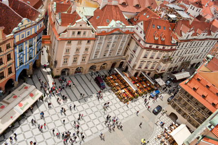 PRAGUE - JUNE 30  A part of the important touristic destination - Old Town square as seen from the top of City Hall on June 30, 2013 in Prague, Czech Republic Editorial