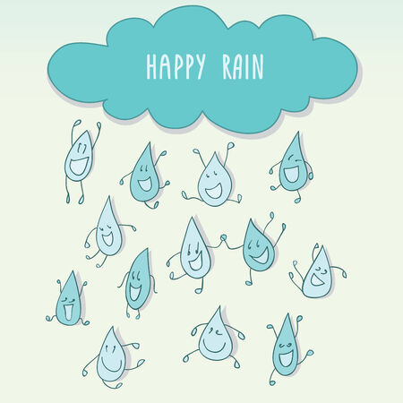 raining: Raining with happy funny raindrops  Illustration