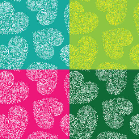 Set of 4 bright seamless patterns with ornate hearts vector, swatches included