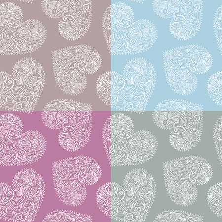 Set of 4 pastel seamless patterns with ornate hearts, swatches included