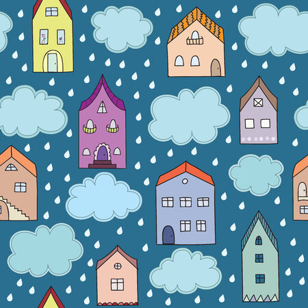 Rainy city vector seamless pattern. Raindrops and clouds in autumn town. Season doodle background.