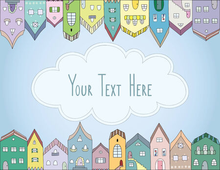 Cloud in the city vector card. Colorful streets of the town. Copy space for text. Vector
