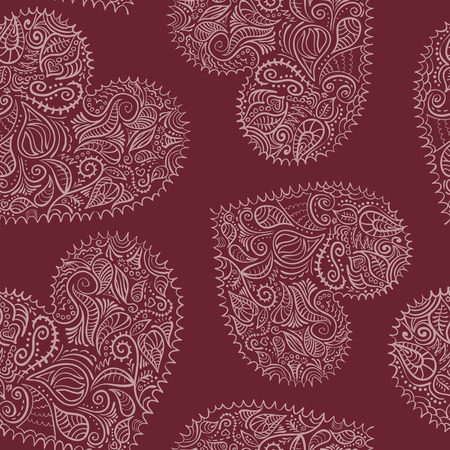 Ornate hearts seamless pattern vector
