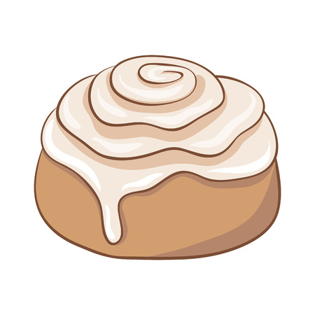 Freshly baked cinnamon roll with sweet frosting. Vector illustration. Ilustração