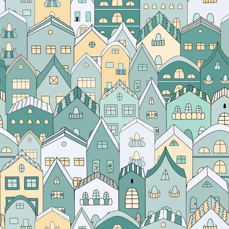 Town full of houses seamless pattern. Vector illustration.