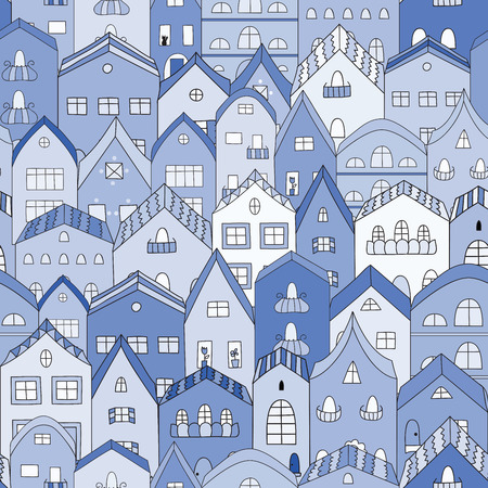 Night town full of houses seamless pattern. Vector illustration.