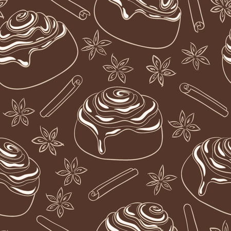 sweetened: Seamless pattern with cinnamon rolls with frosting and spice. Freshly baked sweet pastry.