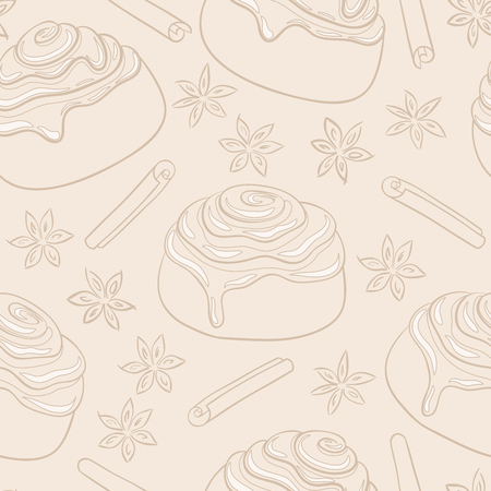 Seamless pattern with cinnamon rolls with frosting and spice. Freshly baked sweet pastry.