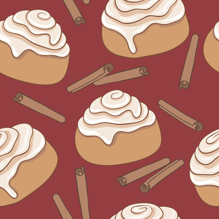 Seamless pattern with cinnamon rolls and sticks of cinnamon. Freshly baked sweet pastry with frosting and spice.