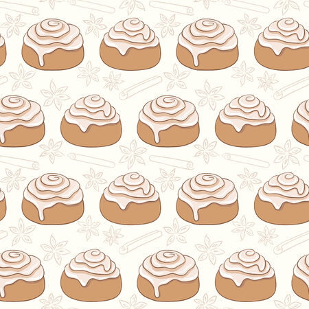 Seamless pattern with cinnamon rolls and spice. Freshly baked sweet pastry with frosting and spice. Ilustração