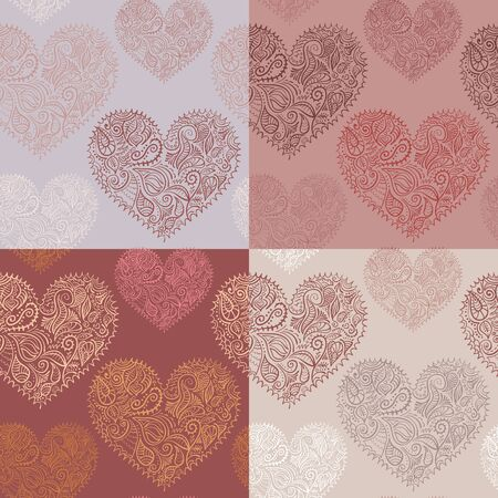 Set of 4 seamless patterns with ornate hearts. Marsala color variations. Vector, eps10, added to swatches.