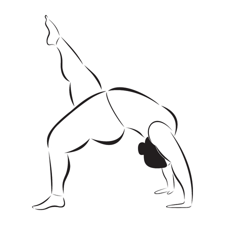 plus size girl: Plus size sporty woman doing yoga vector illustration eps 10