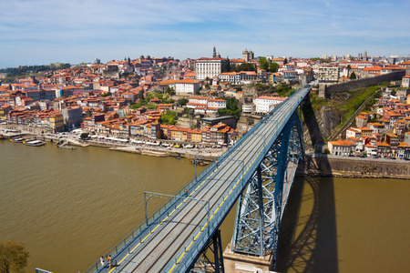 View of old town in Porto and Dom Luis Bridge