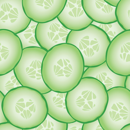 Fresh sliced cucumbers. Vector seamless pattern eps10.