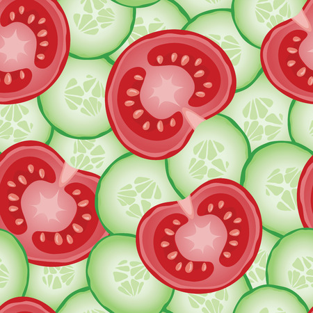 Fresh sliced cucumbers and tomatoes. Vector seamless pattern eps10.