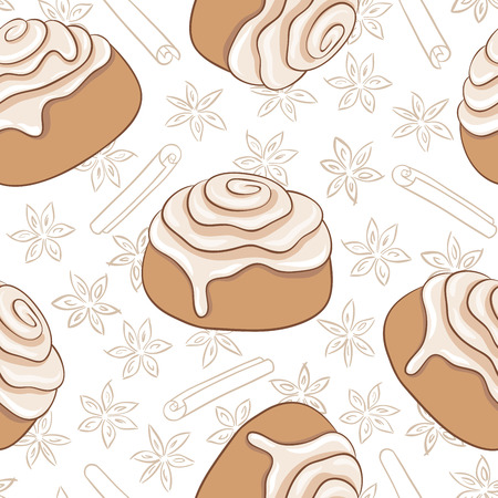 Seamless pattern with cinnamon rolls and spice. Freshly baked sweet pastry with frosting    and spice. Vector illustration. Eps added to swatches. Ilustração