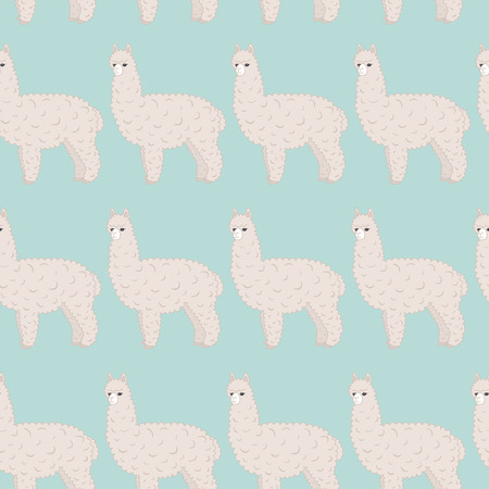 Cute furry alpaca. Vector seamless pattern .