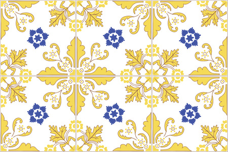 azulejos: Traditional ornate portuguese tiles azulejos. Vintage pattern. Abstract background. Vector hand drawn illustration, eps10.