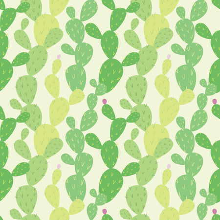 Opuntia cactus. Vector seamless pattern