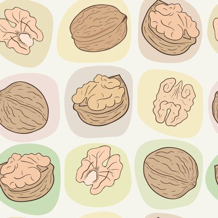 Shelled and whole walnuts. Vector seamless pattern, eps10. Ilustração