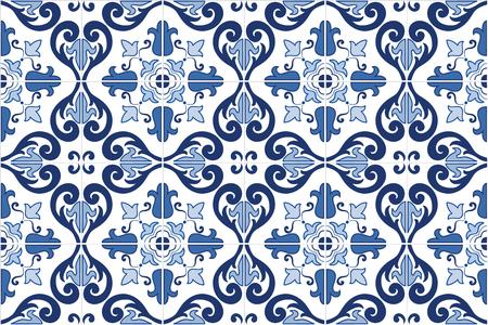 전통적인 화려한 포르투갈어 타일 AZULEJOS. 빈티지 패턴. 추상적 인 배경입니다. 벡터 손, EPS10을 그린 그림.