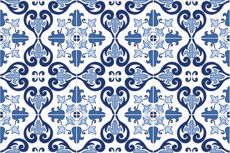 Traditional ornate portuguese tiles azulejos. Vintage pattern. Abstract background. Vector hand drawn illustration, eps10.