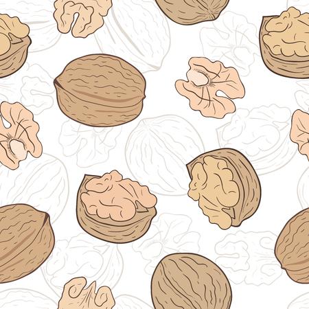 Shelled and whole walnuts. Vector seamless pattern, eps10. Ilustração