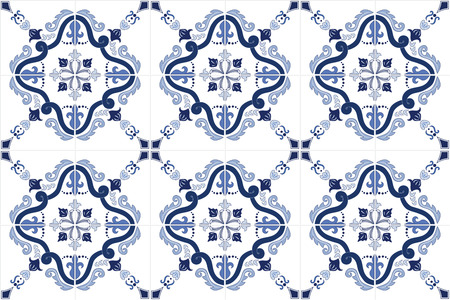 azulejos: Traditional ornate portuguese tiles azulejos in blue. Vintage pattern. Abstract background. Vector hand drawn illustration, eps10.