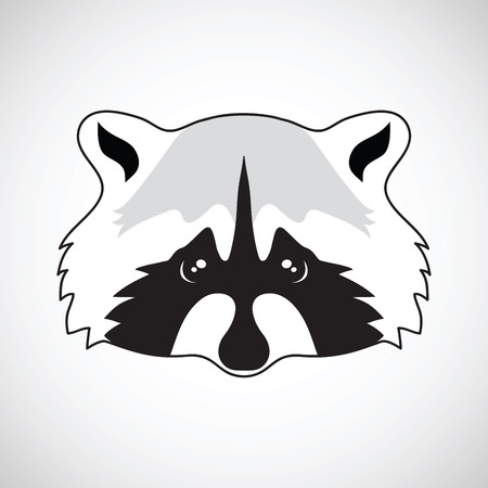 Cute raccoon face. Vector illustration, isolated.