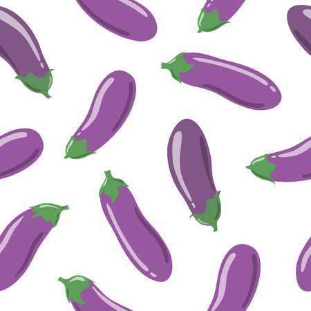 Fresh vibrant ripe eggplants. Vector seamless pattern, eps10. For backgrounds, wallpapers, wrapping paper, textile.