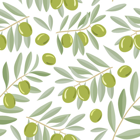 Seamless pattern with green olives on a branch with leaves. Vector illustration. For backgrounds,   wallpapers, wrapping paper, textile. Vettoriali