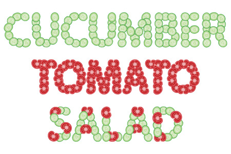 cucumber salad: Cucumber, tomato, salad. Words made of fresh sliced cucumbers and tomatoes. Vector illustration.   Isolated over white.