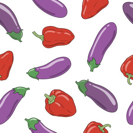 Fresh vibrant ripe eggplants and red pepper. Vector seamless pattern