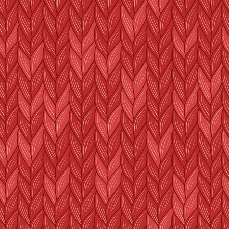 Knitted christmas red seamless pattern. Natural warm knitted fabric. Vector, Eps, added to swatch  palette.